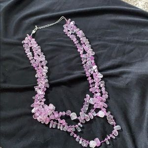 Real amethyst chunky necklace